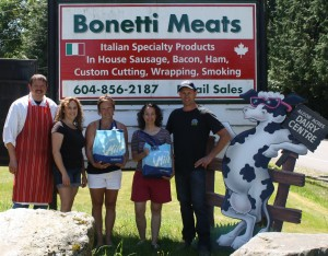 L-R Carlos Bonetti (Bonetti Meats),, Erin Anderson (Aldor Acres Dairy) Shannon Sandau (Ladybug Landing Preschool), Julie Kell (Woodward Hill Elementary), Brian Anderson (Aldor Acres Dairy), and Moo-Lah the Cow!